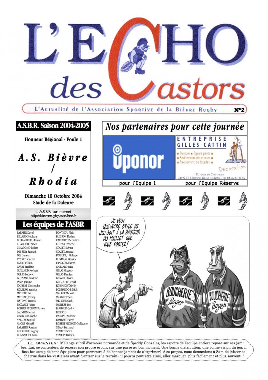 Souvenirs, Souvenirs... L'Écho des Castors - 2004-2005 - N°2